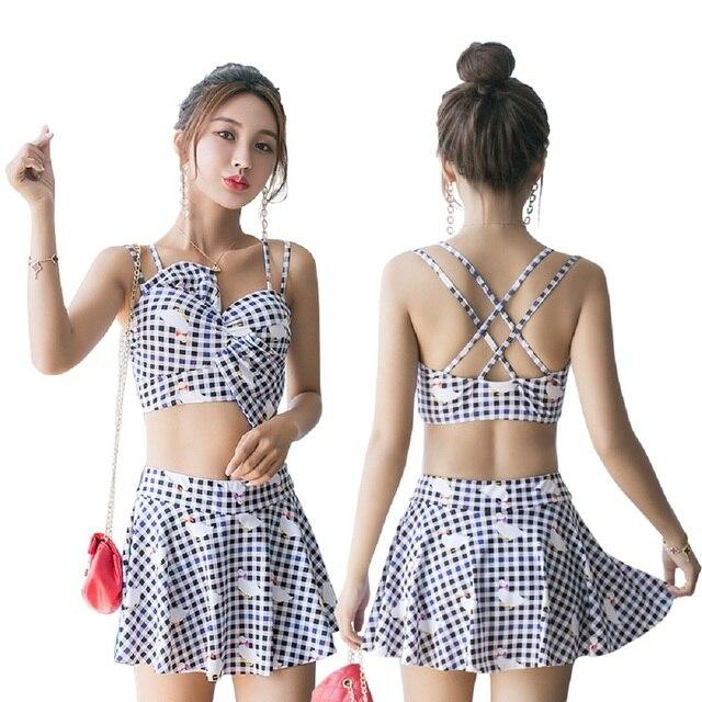3009641d0165e YOUYOU 2018 Bathing Suit NEW High Waisted Tie Plaid Bikini High Rise Cut  Bikini CheckeredSwimsuit Swimwear Split Two Piece