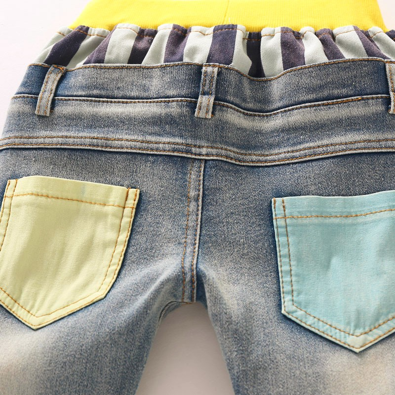 Boys Jeans Children Sring Autumn Full Length Jeans Pants Cotton High Quality Jeans with Elastic Waist For 3 to 7 years old 8