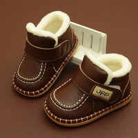 Baby First Walkers Baby Snow Boots Warm Winter Boots Genuine Leather Plush Boots For Babies