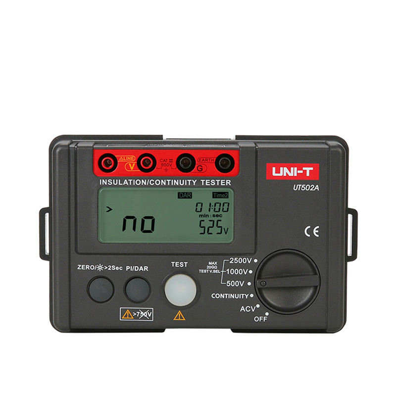 UNI-T UT502A 2500V Insulation Resistance Tester High Voltage Insulation Tester Megger w/LCD Backlight Diagnostic-tools mastech ms5215 high voltage digital insulation resistance tester megometro megger 5000v 3ma temp 10 70c