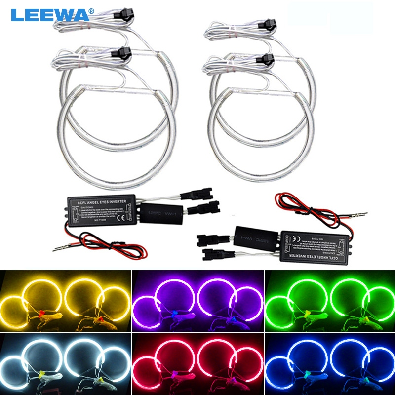 Leewa 4x Car Headlight Ccfl Angel Eyes Light Halo Rings Kits For Bmw E46 Non Projector Car