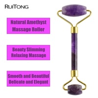 1Pcs Natural Amethyst Double Head Facial Roller Massager Beauty Slimming Head Neck Relaxation Face Thin Massager Tools Wholesale