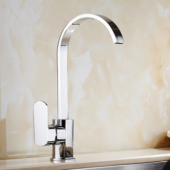 Free shipping High quality deck mounted kitchen sink water faucet with single handle solid brass kitchen sink mixer tap