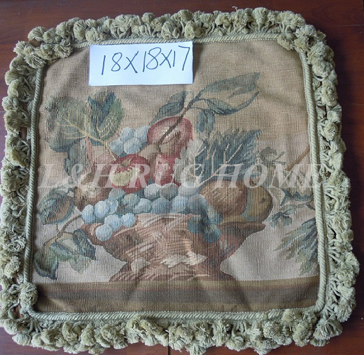 Free Shipping 18X18 Aubusson Woolen Cushion, 100% New Zealand Wool handmade needlepoint pillow, NO INSERTION