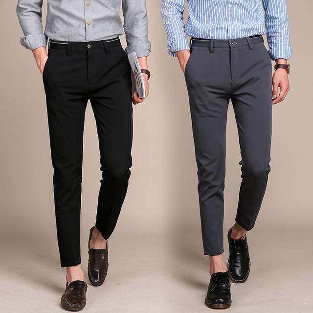 10e427683d49 H Mens Fashion Ankle Pants New Slim Fit Black Pants Men Casual Street Wear  Joggers Men's Summer Pants Pure Color Trousers