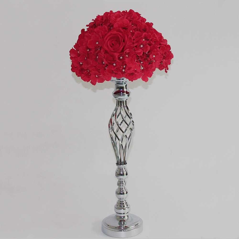 זהב/כסף פרחי אגרטלים פמוטים כביש עופרת מרכזי שולחן מתכת Stand פמוט לחתונה המפלגה קנדלברה