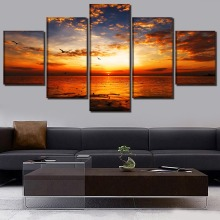 Dusk Landscape Painting 5 Pieces Home HD Print Artwork The Wall Art Paintings Canvas Living Room