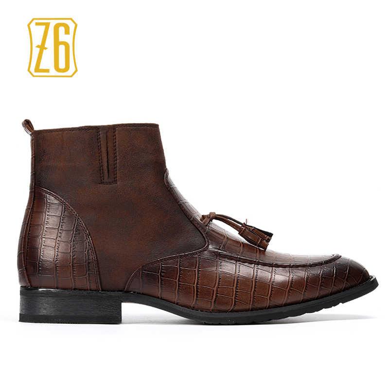 aac2d9d723c8 ... 39-48 Брендовые мужские ботинки Z6 Высочайшее качество красивый удобные  весенние ретро кожаные ботинки ...
