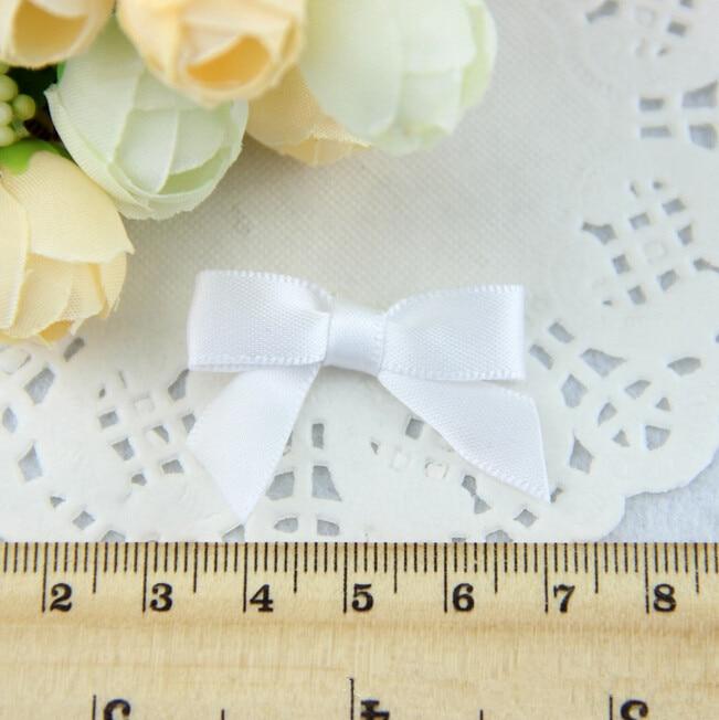 Free Shipping Wholesale 500pcs lot Mini Polyester Satin Ribbon Packing Bow White 1 8 Ribbon