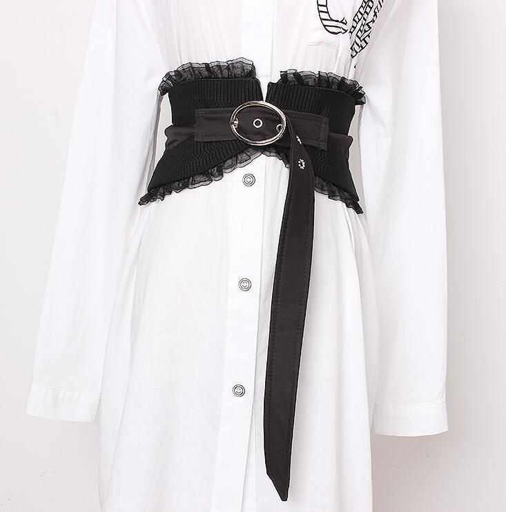 Women's Runway Fashion Vintage Lace Cummerbunds Female Dress Corsets Waistband Belts Decoration Wide Belt R1678