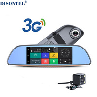 3G Car DVR+Android 5.0 Bluetooth GPS FM transmitter Dual lens rearview mirror camera+FHD1080P camara