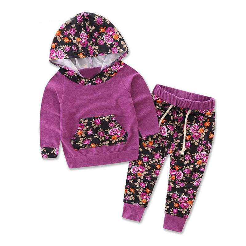 New Fashion 2017 toddler girl clothing tracksuits Baby Kids Set Long Sleeve Floral Print Tracksuit Top +Pants Outfits Set
