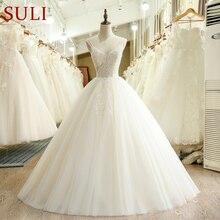 SL 231 Vintage A Line tül dantel aplikler ucuz düğün elbisesi 2018