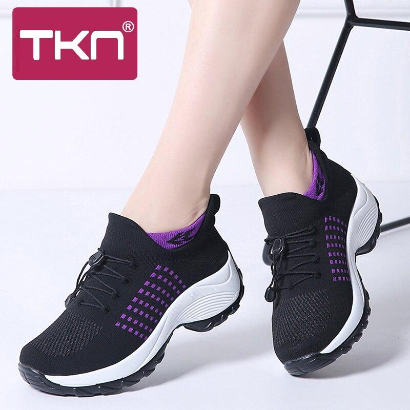 TKN 2019 Outono Mulheres Lace Up Sneakers Flats Plataforma Meia Sapatos Mulher Chaussure Femme Respiração Malha Tenis Sapatos Feminino 1855