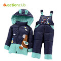 Actionclub Children Winter Jackets Baby Boys Girls Down Coat Kids Warm Hooded Outerwear Snowsuits Jackets+Bib Pants Clothing Set