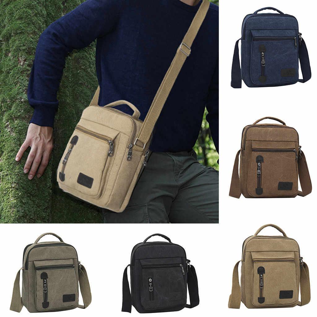 Hommes BagFashion toile couleur unie décontracté affaires épaule et sacs de messager homme sac bolso hombre #32