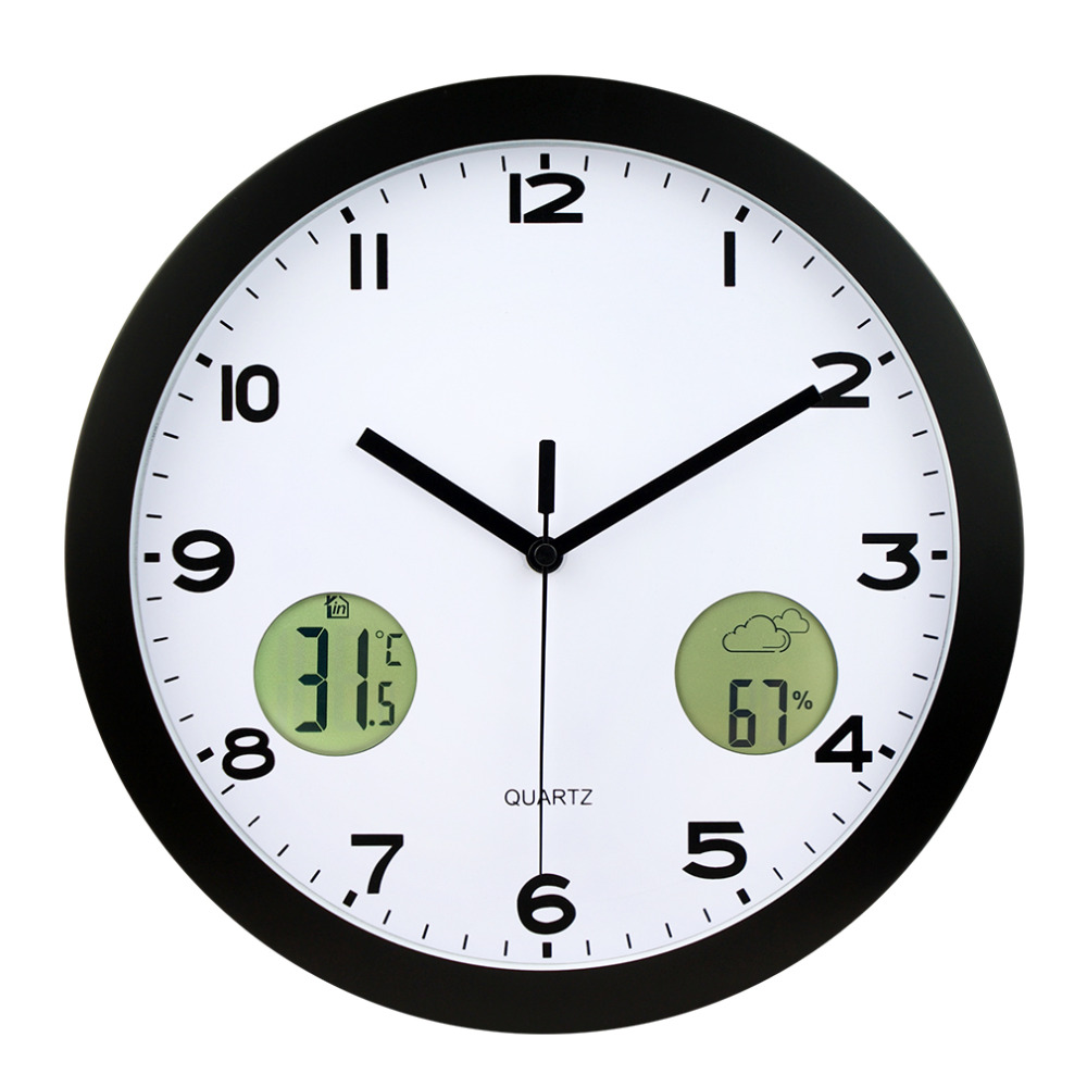 1pc New Design High Quality Indoor And Outdoor Temperature Thermometer Clock [randomtext category=
