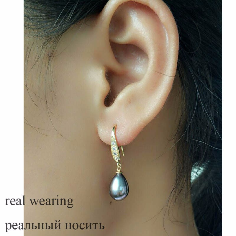[ZHIXI] Pearl Earrings Fine Jewelry Freshwater Black Pearl Earrings 8-9MM Water Drop Trendy New Birthday Gift For Women Hook E19