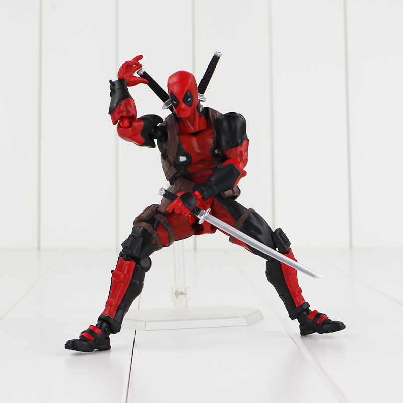 16cm Deadpool Revoltech X-Men Action Figure Wade Winston Wilson Doll With Sword Gun Weapon Cool Model Toy figma x man series spiderman figure no 001 revoltech deadpool with bracket no 002 revoltech spider man action figures