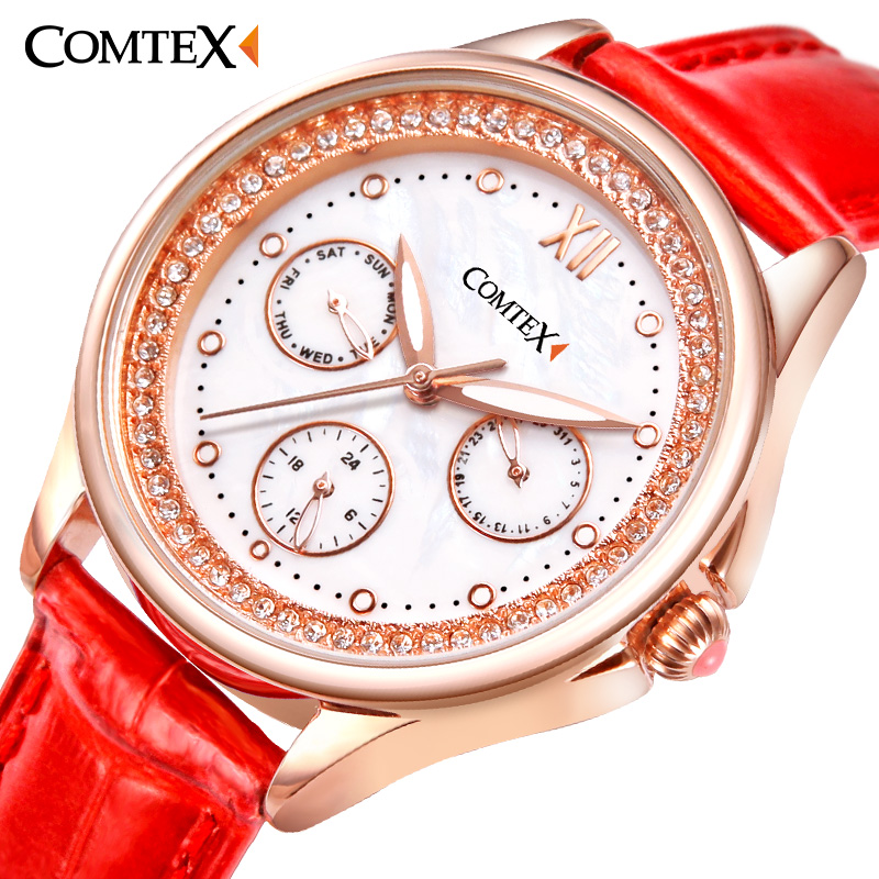 ФОТО Comtex watchband Leather Strap Fashiondress Women Watch red Luxury quartz wristwatches Waterproof watch women gift relogio clock
