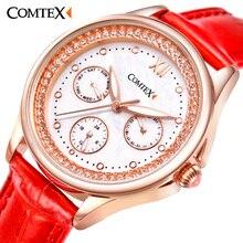 Comtex watchband Leather Strap Fashiondress Women Watch red Luxury quartz wristwatches Waterproof watch women gift relogio clock