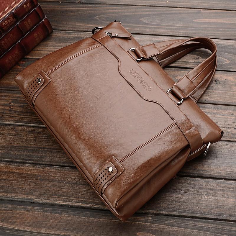Business Men Briefcase Leather Laptop Bag Men Shoulder Bags Large Capacity Male Briefcases Handbag Sacoche Homme WBS508-2