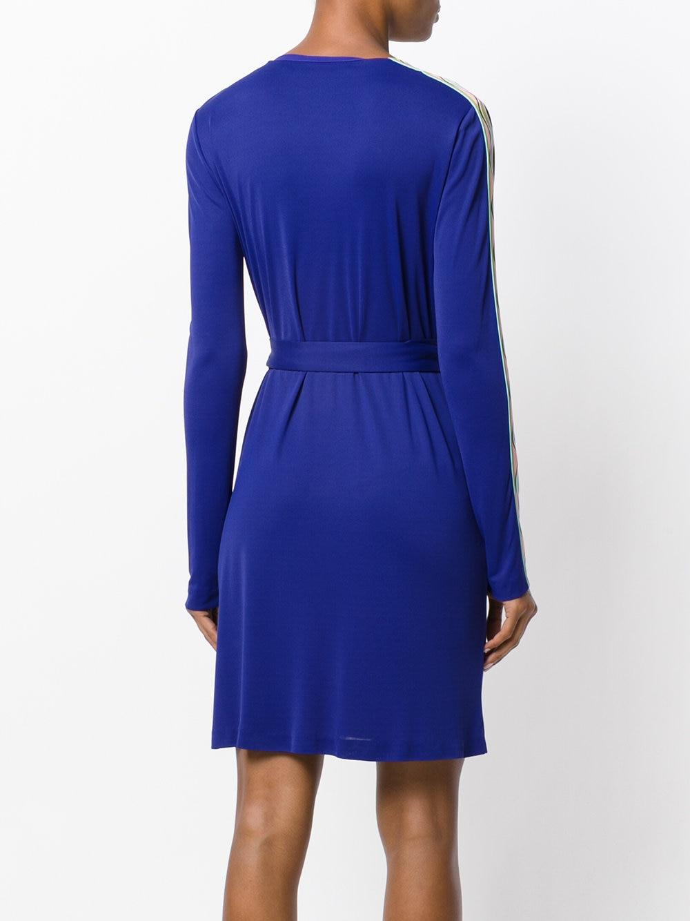 Nuevo 2018 otoño moda diseñador vestido de mujer cuello en V manga larga azul estampado geométrico XXL estiramiento Jersey Delgado Día de la Seda vestido-in Vestidos from Ropa de mujer    2