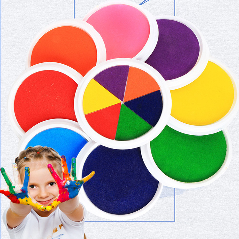 DIY Ink Pad Stamp Finger Painting Craft Cardmaking Large Round For Kids Safe And Nontoxic Fun Toys Educational Toys For Children