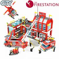 ENLIGHTEN Fire Rescue Headquarters Sation Centre Helicopter Truck Fireman Assemble Model Building Blocks minifig Kids Toy