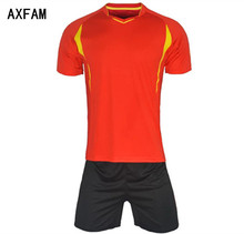 AXFAM Men's Soccer Sets Jerseys shorts survetement football 2017 Short Sleeve Quick Dry Football uniform Training suit JUN810