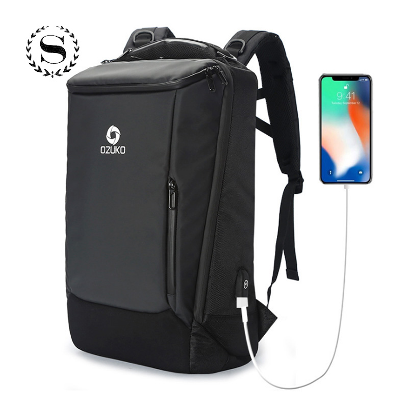 Business USB Charging Backpack for Men Student Boys Backpage Waterproof Anti-theft Travel Laptop Bags Mochila Sac a dos Rucksack anti theft 18 4 inch waterproof laptop backpack business travel student school bags with usb charging