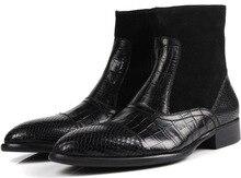 Британский стиль Коричневый/Черный мужские ботинки мото обувь из натуральной кожи на открытом воздухе повседневная обувь зимние мужские ботинки