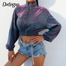 Darlingaga Autumn winter fashion glitter jacket coat Bling zipper turtleneck bom