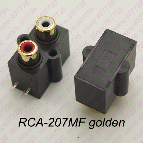 (2PCS/PACK) PCB Mount 1 Position Stereo Audio Video Jack RCA Female Connector TWO hole (W+R) RCA-207MF Golden