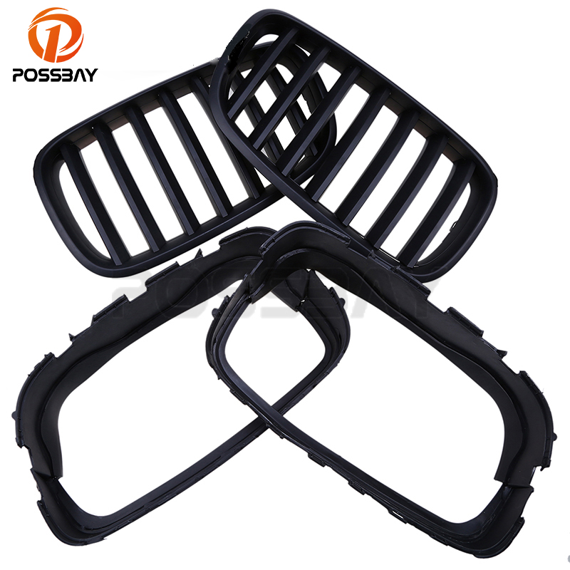 POSSBAY Auto Car Grille Grills 1 Pair Front Kidney Hood Grille Grill Fit for BMW X5 E70 2007-2013 Matte Black Car Accessories 2007 2013 kidney shape matte black abs plastic e70 e71 original style x5 x6 front racing grill grille for bmw e70 x5 bmw x6