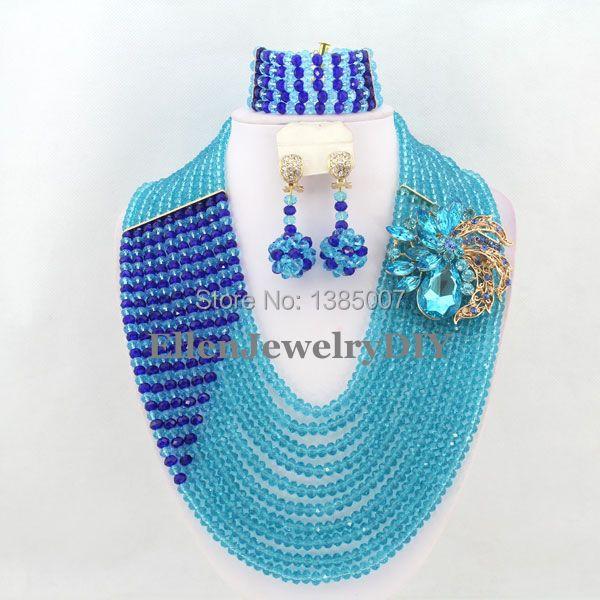 Gorgeous African Juegos de joyería cristalina Africana Cuentas joyería para  la boda w7019 0be0f69c1d68