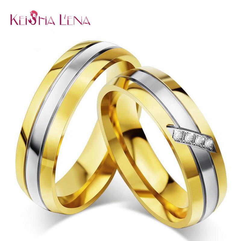 Keisha Lena 1pcs New fashion gold color wedding rings with stone ...