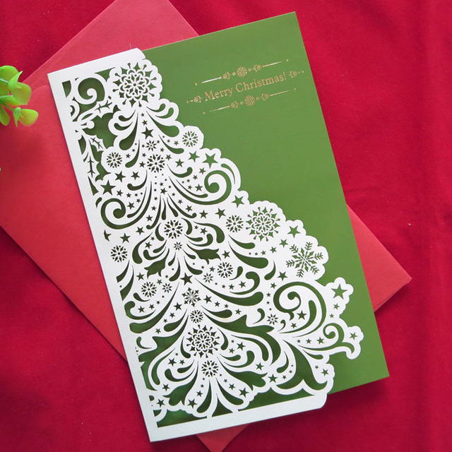 2016 new year 10 pcs creative handmade high quality merry christmas cards cute gifts laser