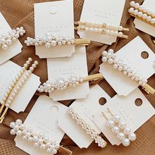 Korean Style Imitation Pearl Flower Hair Pin Vintage Clips Long Barrettes Ins Hairgrip Accessories
