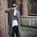 Free shipping men thin section shawl knit cardigan jacket and long sections Slim Men's black cloak clothes