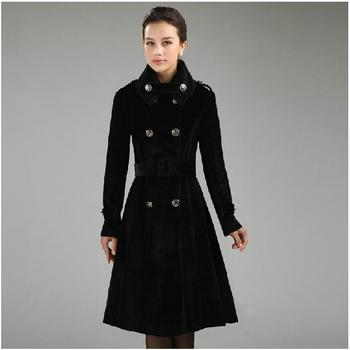 Double-breasted slim belt wool trench coat women cashmere outerwear X-long overcoat