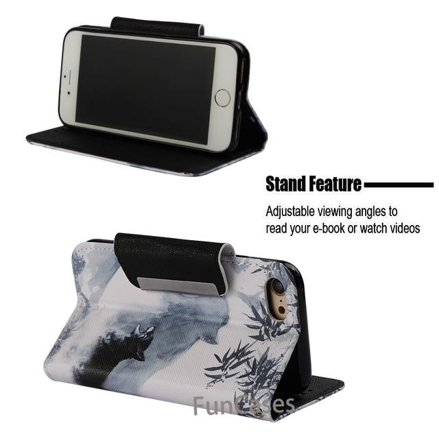 Moda qualidade de luxo couro do plutônio carteira para iphone 7 iphone 8 caso capa flip magnética pintado capa completa hoesje kryt fundas 3