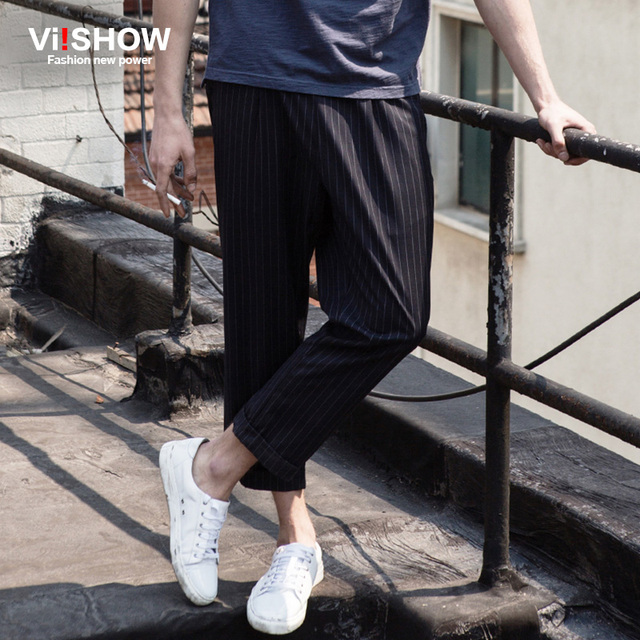 VIISHOW Mens Pantalones Pantalones de Moda Casual de Ocio Pantalones A Rayas Ropa de Los Hombres Pantalones de cordón Nuevo Retro Streetwear 5XL KB96862