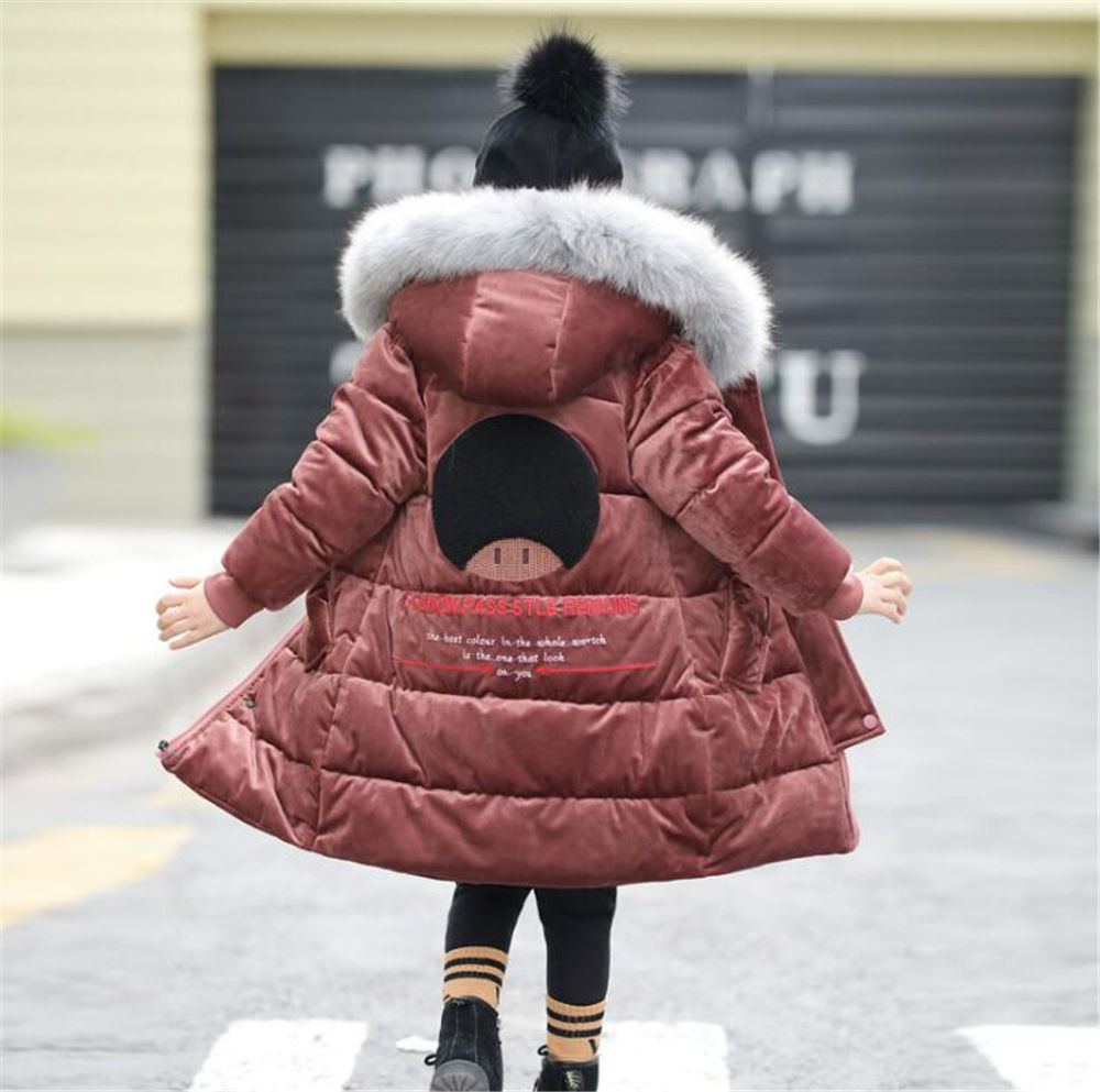 Thick Winter Children Warm Corduroy Outerwear Girls jacket Kids Faux Fur Collar Hooded Padded Coat Baby Girl Clothes Snowsuit selfie media настольная игра товарищ бди selfie media
