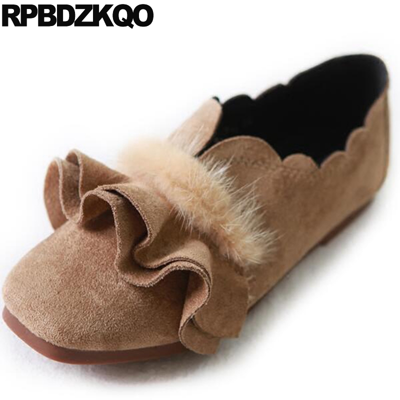 Slip On Retro Square Toe Ladies Suede Women Flats Fur Factory Ruffles Chinese Designer Shoes China Spring Autumn Beautiful fine zero spring women casual suede genuine leather platform flats tassel wedge slip on ladies creepers shoes red fur winter