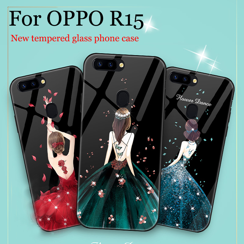 For OPPO R15 case cover fashion Girls tempered glass back cover For OPPO R 15 case OPPOR15 phone cases For OPPO R 1 5 shell bags