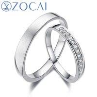 ZOCAI Harbor Miłości Prawdziwe 0.11Ct Certified i-J/SI Diament Obrączki Pierścień Jego i Jej Pierścionek z Brylantem Platinum Pt950 Q00447AB
