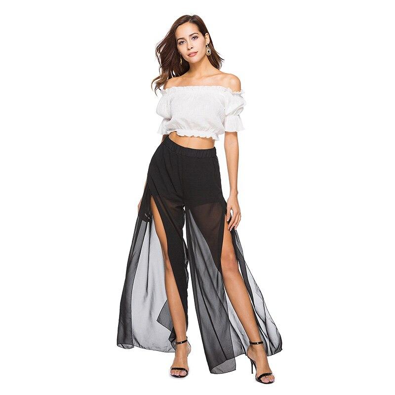 P003 noir en mousseline de soie sexy pure femmes été lâche coupe cheville longueur large pantalon