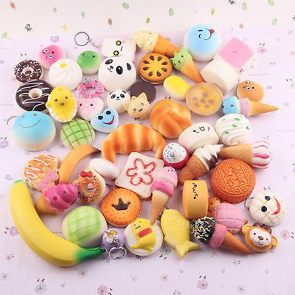 Gags & Practical Jokes Toys & Hobbies 30 Pcs Random Squeeze Slow Rising Funny Cute Bread Cake Pendant Charm Toy Stretchy Squeeze Cream Cute Strap