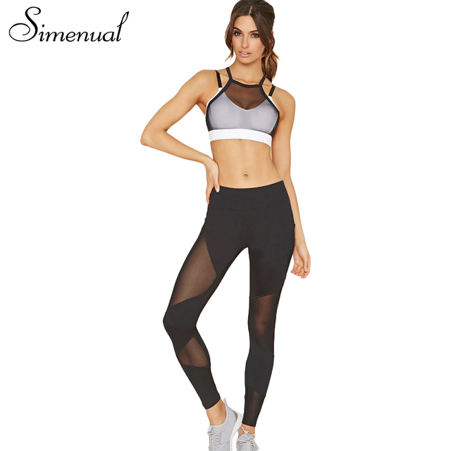 Simenual 2017 Summer camis bra leggings tracksuit women mesh patchwork sexy fitness women's tarcksuits 2PCS sportsuit athleisure